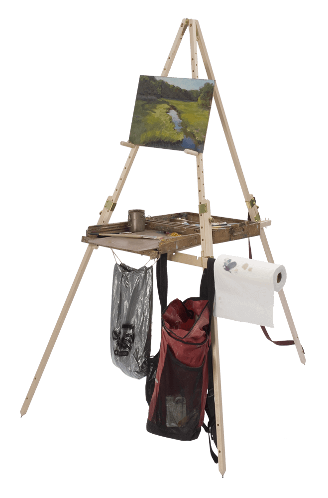Take It Easel is the only plein air easel that supports the supplies of many mediums at an accessible height while you are standing or sitting.