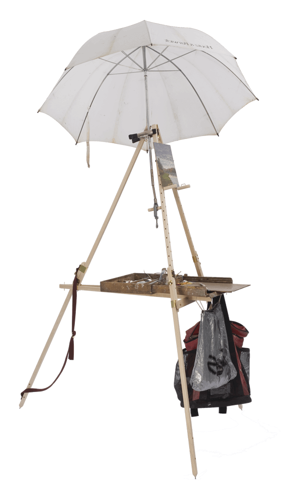 Easily attach an umbrella to your Take It Easel.  An umbrella can be clamped to the extra Artwork Support Peg to shade you and your artwork.