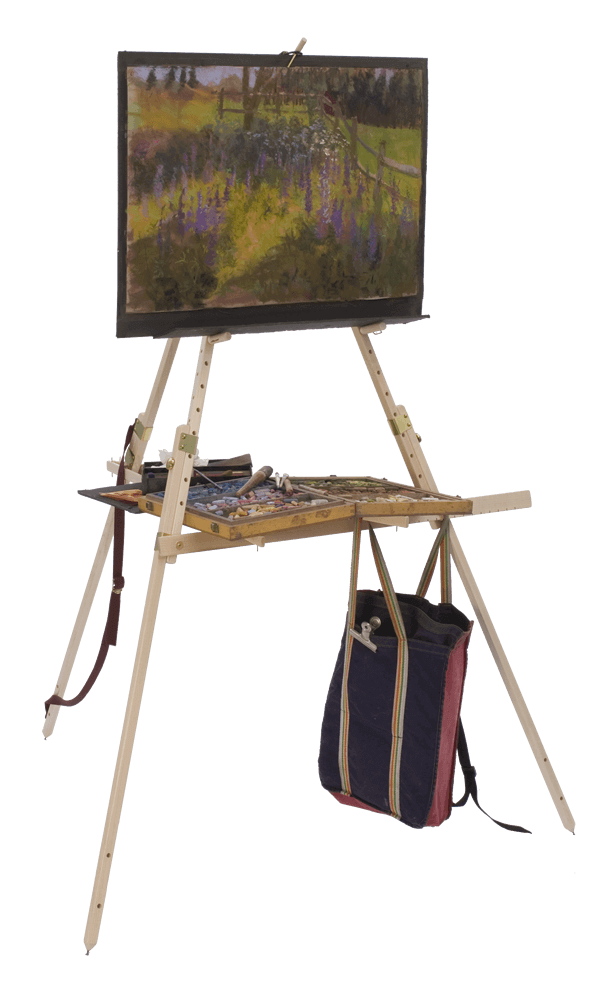 "While compact and lightweight, Take It Easel accommodates artwork as small as 4""x6"", as large as 50"" tall, and even wider; for the intrepid artist."