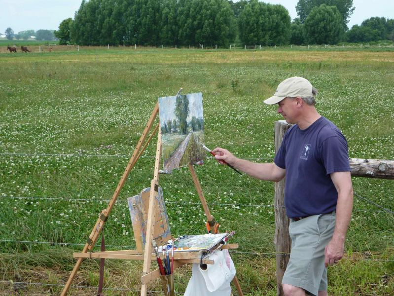 Mark Daly painting on his Take It Easel plein air easel