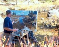 Scott Christensen painting a massive oil painting en plain air on his Take It Easel.  Scott Christensen prefers the Take It Easel when painting large.
