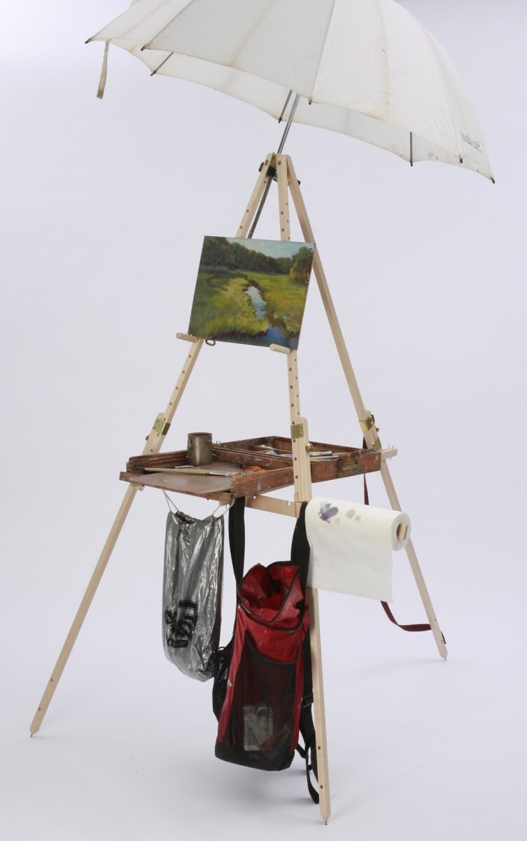 The Take It Easel plein air easel set up for small oil painting, with umbrella