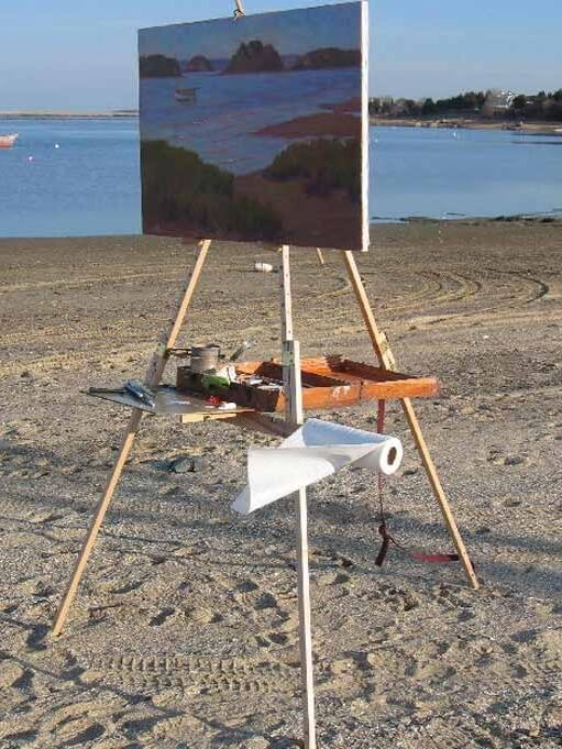 A large Rosalie Nadeau oil painting on her Take It Easel plein air easel, shown from the side, shows this easel easily supports very large paintings