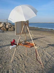 How to attach an umbrella to an art easel, shown from the rear, on the Take It Easel portable art easel supporting a large plein air painting