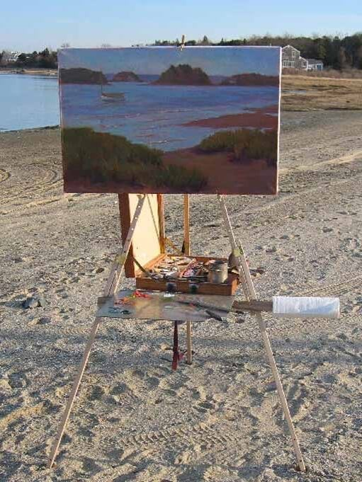 A large Rosalie Nadeau oil painting on her Take It Easel plein air easel, shown from the front, shows this easel easily supports very large paintings