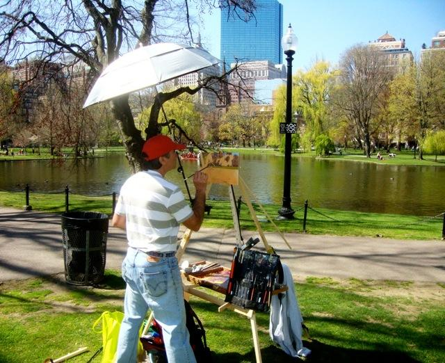 Sergio Roffo painting at his Take It Easel plein aire easel in The Boston Public Garden