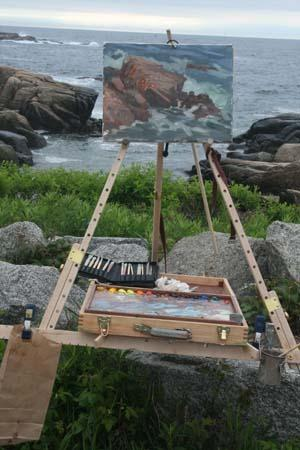 Gerard Blouin set up, painting en plein air on his Take It Easel.