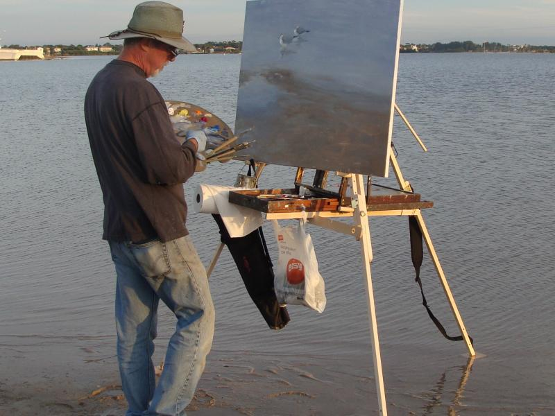 Mitch Kolbe painting en plein air on his Take It Easel